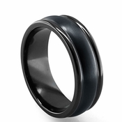 Edward Mirell 8mm Dual Finish Triple Dome Black Titanium Ring