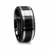 Edward Mirell 9mm Black Titanium Ring with Sterling Silver Inlay
