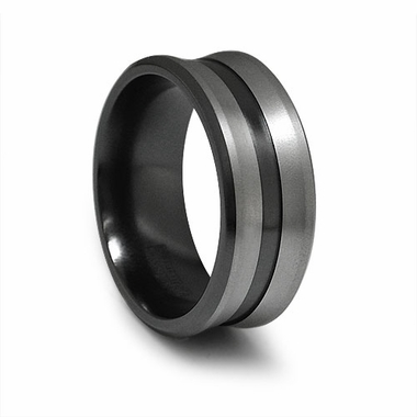 Edward Mirell 9mm Concave Black and Gray Titanium Ring