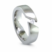 Edward Mirell Angled Tension Set 6mm Gray Titanium Ring with 0.16ctw