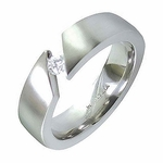 Edward Mirell Angled Tension Set 6mm Titanium Ring with 0.10ctw