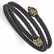 <b>Edward Mirell Throne Collection:</b><br> Black Titanium Cable and Bronze with 4mm Faceted Weave End Amethyst Caps