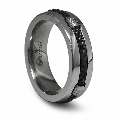 Edward Mirell Black Titanium Cable Ring with Barrels