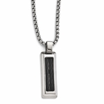 <b>Edward Mirell Boulevard Collection :</b><br> Titanium and Stainless Steel Cable Pendant Necklace on Steel Chain