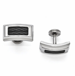 <b>Edward Mirell Boulevard Collection:</b><br> Titanium and Steel and Polished Cable Cufflinks