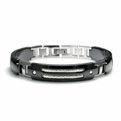 Edward Mirell Cable Sport Black Titanium Bracelet with Sterling Silver
