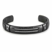 Edward Mirell Cable Sport Black Titanium Diamond Bracelet with Sterling Silver