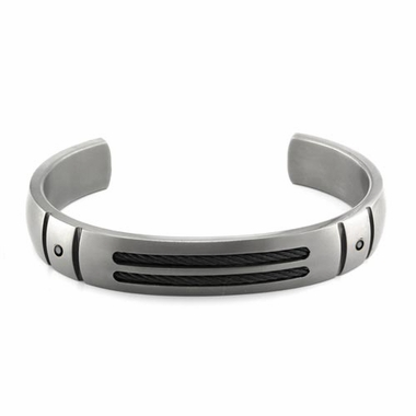 <b>Edward Mirell Cable Sport Collection:</b><br> Gray Titanium Cuff Bracelet with Black Diamonds and Black Memory Cable