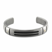 <b>Edward Mirell Cable Sport Collection:</b><br> Gray Titanium Cuff Bracelet with Gold Rivets and Black Titanium Memory Cable