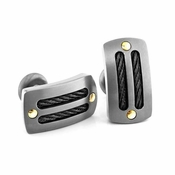 <b>Edward Mirell Cable Sport Collection:</b><br> Gray Titanium Cufflinks with Black Memory Cables and Gold Rivets