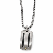 <b>Edward Mirell Cable Sport Collection :</b><br> Titanium Cable 18K Gold Screw Rivets Necklace Pendant with Sterling Silver Bezel