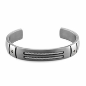 Edward Mirell Cable Sport Titanium Black Diamond Bracelet with Sterling Silver