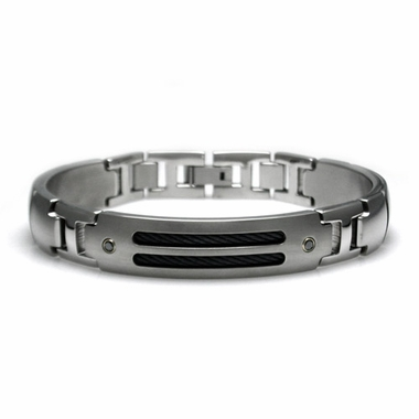 Edward Mirell Cable Sport Titanium Bracelet with Black Diamonds