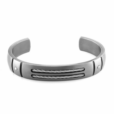 Edward Mirell Cable Sport Titanium Bracelet with Sterling Silver