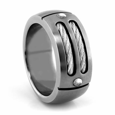 Edward Mirell Cable Sport Titanium Ring with Sterling Silver