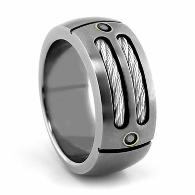 Edward Mirell Cable Sport Titanium Ring with Sterling Silver and Black Diamonds