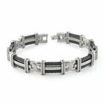 <b>Edward Mirell Cable Squared Collection:</b><br> Double Gray Titanium with Black Memory Cable Link Bracelet