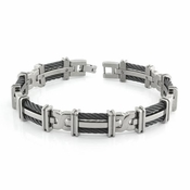 <b>Edward Mirell Cable Squared Collection:</b><br> Double Row Black Titanium Cable Link Bracelet