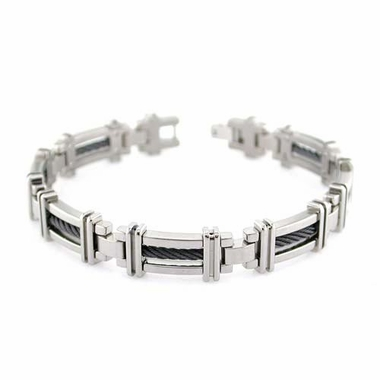 <b>Edward Mirell Cable Squared Collection:</b><br>Titanium Bracelet with Black Memory Cable
