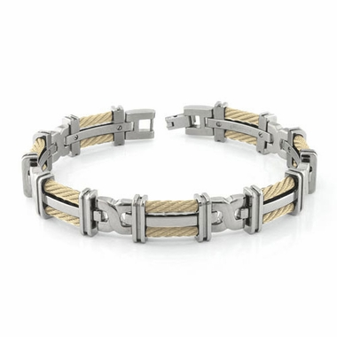 Edward Mirell Cable Squared Double 14K Yellow Gold Cable Titanium Link Bracelet