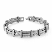 Edward Mirell Cable Squared Double Sterling Silver Cable Titanium Link Bracelet