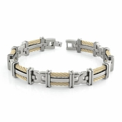 Edward Mirell Cable Squared Gray Titanium Double 14K Yellow Gold Cable Link Bracelet