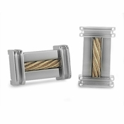 Edward Mirell Cable Squared Titanium and 14K Yellow Gold Cable Cufflinks