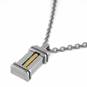 Edward Mirell Cable Squared Titanium and 14K Yellow Gold Pendant Necklace