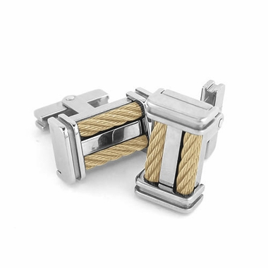 Edward Mirell Cable Squared Titanium and Double 14K Yellow Gold Cables Cufflinks