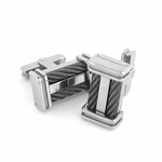 Edward Mirell Cable Squared Titanium and Double Black Cables Cufflinks