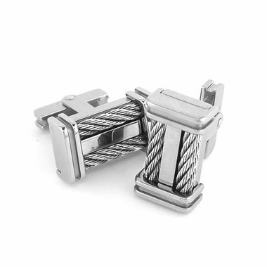 Edward Mirell Cable Squared Titanium and Double Sterling Silver Cables Cufflinks