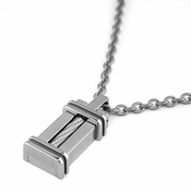 Edward Mirell Cable Squared Titanium and Silver Pendant Necklace
