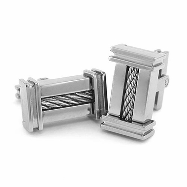 Edward Mirell Cable Squared Titanium and Sterling Silver Cable Cufflinks
