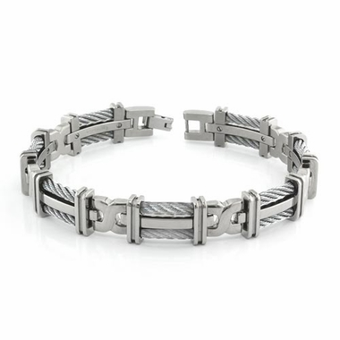 Edward Mirell Cable Squared Titanium Bracelet with Sterling Silver