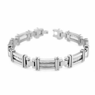 Edward Mirell Cable Squared Titanium Bracelet with Sterling Silver Cable