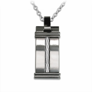 Edward Mirell Cable Squared Titanium Necklace with Sterling Silver