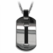 Edward Mirell Cable Titanium and Black Cable Pendant Necklace