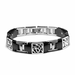 Edward Mirell Chaos Black Titanium Bracelet with Sterling Silver