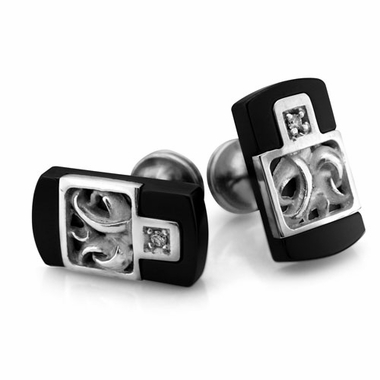 Edward Mirell Chaos Black Titanium Diamond Cufflinks with Sterling Silver