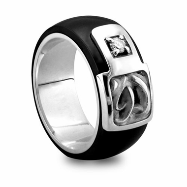Edward Mirell Chaos Black Titanium Diamond Ring with Sterling Silver Inlay