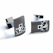 Edward Mirell Chaos Titanium Black Diamond Cufflinks with Sterling Silver