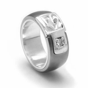 Edward Mirell Chaos Titanium Diamond Ring with Sterling Silver Inlay