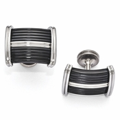 <b>Edward Mirell Defiance Collection :</b><br> Black Titanium and Polished Steel Ridge Cufflinks