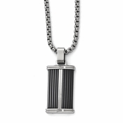 <b>Edward Mirell Defiance Collection :</b><br> Black Titanium and Stainless Steel Ridge Necklace on Steel Chain