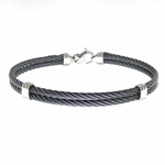 Edward Mirell Double Black Titanium Cable Bangle Bracelet