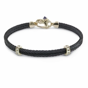 Edward Mirell Double Black Titanium Cable Bracelet with 14K Yellow Gold and Diamonds
