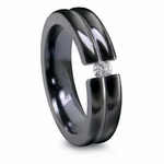Edward Mirell Double Dome Tension Set 6mm Black Titanium Ring with 0.10ctw