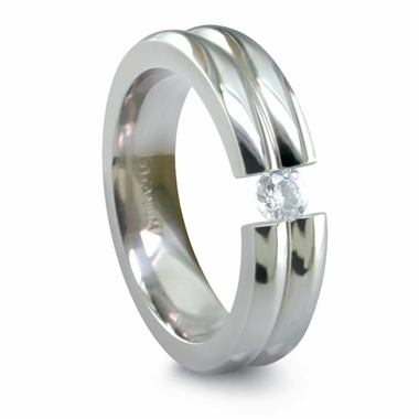Edward Mirell Double Dome Tension Set 6mm Titanium Ring with 0.10ctw