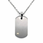 Edward Mirell Gray Titanium Dog Tag with Diamond