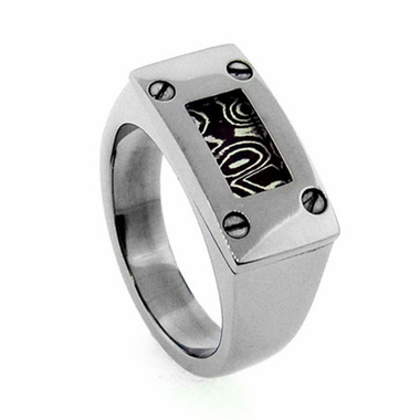 Edward Mirell Gray Titanium Mokume Screws Signet Ring